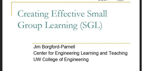 Creating Effective Small Group Learning (SGL)